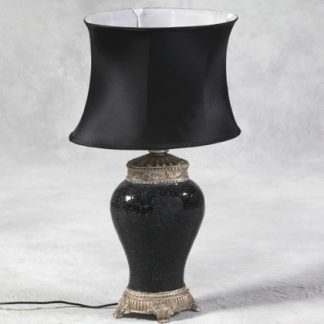 black mosaic lamp with oval silk shade