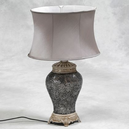 silver mosaic lamp with oval silk shade