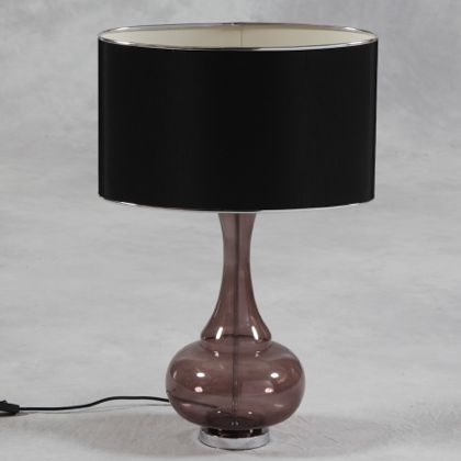 bulbous black glass lamp with large oval silk shade