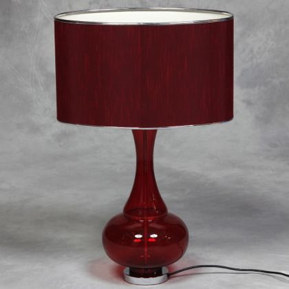 Red Glass Lamp Bulbous Glass Table Lamp Classic Light Traditional