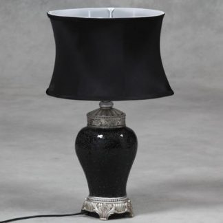 small black mosaic lamp in classical regency style with silver detailing and oval silk shade