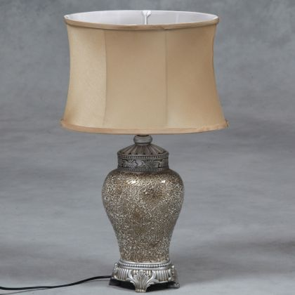 small gold mosaic lamp with oval silk shade