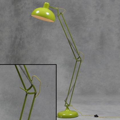 Green floor lamp angle poise retro lighting industrial metal lap lime green floor lamp aloadofball Images