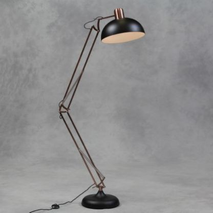 black copper floor lamp angle poise floor lamp has matt black base and shade and the rest is vintaged copper. Measures 190 x 36 x 36cm