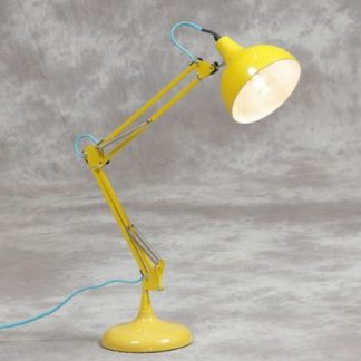 shiny yellow angle poise desk lamp measures 75 x 20 x 20cm with a blue fabric flex