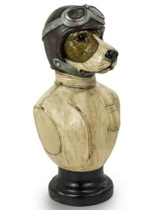 Amust-have, this decorative racing driver dog bust will instantly transform any room of the home. Buster measures at H51.5 x W26.5 x D24cm