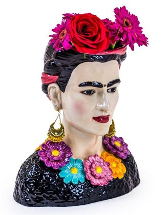 OurFrida Kahlo vase is a fun gift for loved ones or friends, she is bright, colourful and a fabulous statement piece to have. 33 x 29 x 18.5cm. Good value