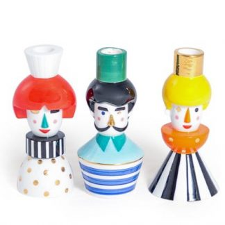 Meet our ceramic face candlesticks AKA The Puppet People! Each measures 7.5 x 7.5 x 15cm . Hand finished ceramic with a glossy glaze.