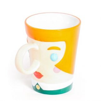 Mrs Mug is our lady face ceramic mug. Hand finished and brightly coloured, great as a wedding or housewarming gift 9 x 12 x 11cm.