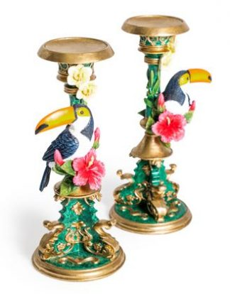 Two ornate toucan candlesticks that are beautifully made, finished and detailed. They are divine! 12.5 x 12.5 x 30.5cm. Great gift!