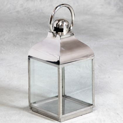 small silver lantern made of stainless steel