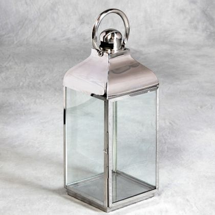 silver lantern made of stainless steel and square in shape