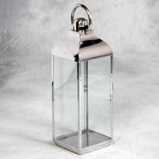 large silver lantern made of stainless steel