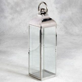 large tall silver lantern square shape made of stainless steel very contemporary