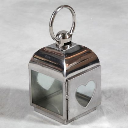 heart lantern made of aluminium with glass heart front and back