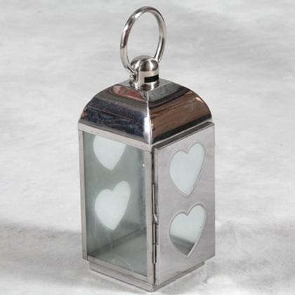 double heart lantern made of aluminium and glass