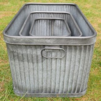 Display your favourite plants in this set of rectangular galvanised tubs. There's three of them. Varying sizes, affordable price, great gift.