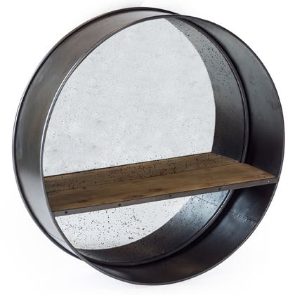 This stunning round shelf mirror measures 90 x 90 x 24cm. Deep frame with a wooden shelf within it. This looks great in the hall or cloakroom.