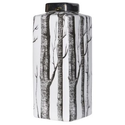 This ceramic square jar AKA tall trees lidded jar is practical and stylish. 15 x 15 x 40cm. Black and white, black lid, black and white trees design.