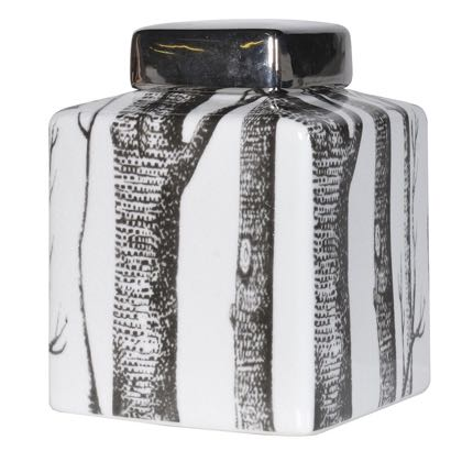 This charming ceramic lidded jar is sqaut and square! has a black lid and a black and white tree design. Quality and value. Measures 15 x 15 x 21cm
