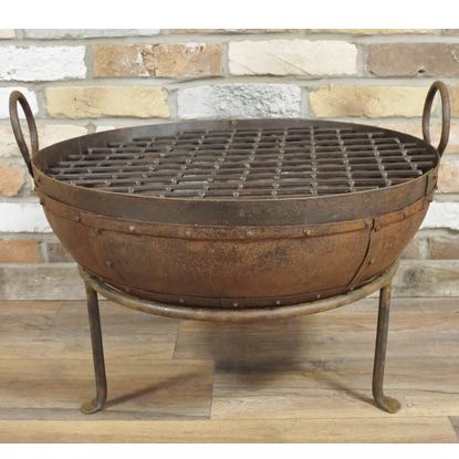 This marvellous cast iron fire pit is a super bbq and is a great size for any garden. Approx 60 cm diameter and 47 cm high. Superb quality and finish with great value for money too.