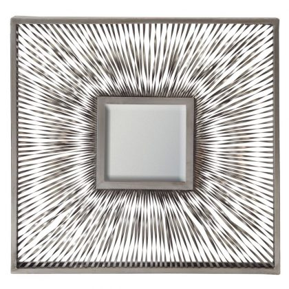 This stunning square wave mirror has a wide frame that is made of strips of twisted steel. You can see the colour of the wall behind. Measures 50 x 50 x 5cm