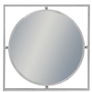 This square framed round mirror is stunning. Made of stainless steel, it's simple and stylish. Great above a table or in the bathroom. 180 x 230cm
