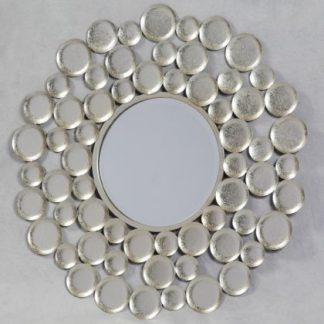 This stunning silver discs mirror will enhance any room in your home. A great hand finished item that is superb value too. 80 x 80 cm (33 x 33cm glass)