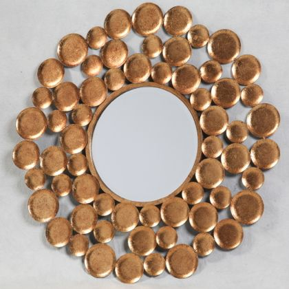 This gold discs mirror is a superb feature mirror that is very good value for money. Great antiqued gold paint finish is quite rich. 80 x 80 cm
