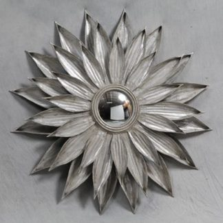 Look at this triple layered metal sunflower mirror. The petals are hand finished in silver. Light, large, statement piece, convex mirror. 90 x 90 x 5cm