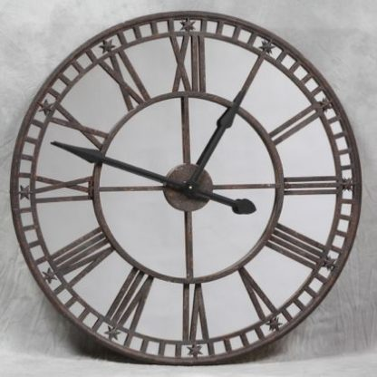 large mirrored industrial skeleton clock rusty metal with black hands great industrial style