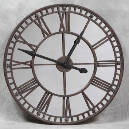 Large Mirrored Industrial Skeleton Clock Large Wall Round