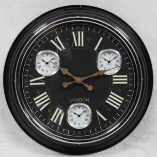 gold multi dial clock with black face old hands and super stylish mini clocks for different time zones measures 50 x 50x 7cm