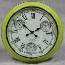 lime green retro multi dial clock
