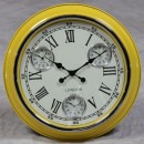 yellow retro multi dial clock with cream face and black hands