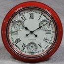 red retro multi dial clock with cream face and black hands