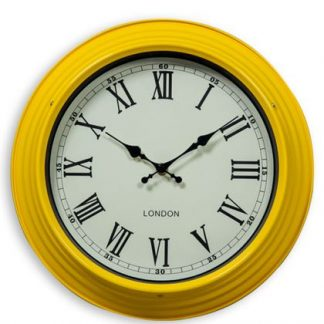 This retro 31cm yellow kitchen clock makes any room look stylish. Gloss paint frame, black roman numerals on a cream face, a timeless piece!! 31 x 31 x 9cm