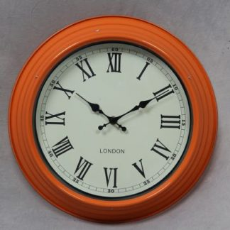This retro 31cm orange kitchen clock makes any room look stylish. Gloss painted frame, cream face black hands and Roman numerals. Timeless! 31 x 31 x 9cm