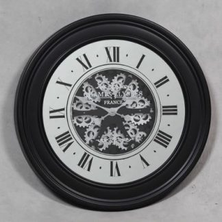 This marvellous large antique style black mirrored moving gears clock measure 80 x 80 x 8cm and is not only a superb feature piece but is great value too. Mirrored face and black frame.