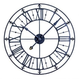 medium black skeleton clock with simple Roman numerals, plain hands and finished in matt black black. Measures 76 x 76 cm