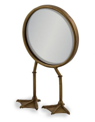 This quirky bronze bird leg table mirror will make quite an impression, making people smile. 2 duck feet support the small mirror. H36 x W20 x D14cm.