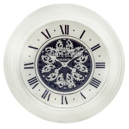 White Moving Gears Clock Cream Mirrored Face Wall Large