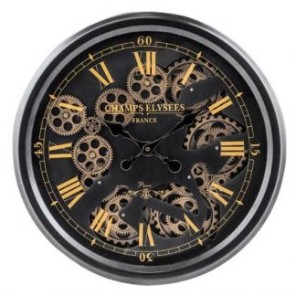 This stylish black gold moving gears clock exudes style! The medium sized black clock has gold detailing and is a super gift. 53 x 53 x 9cm. Great value!