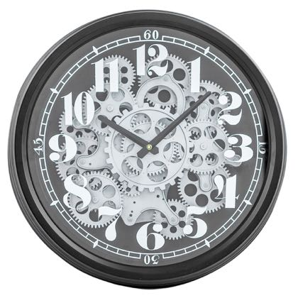 This superb black silver moving gears clock is a perfect size for any home and perfect value for any budget! Measures 39 x 39 x 10cm. Easy to hang. The silver numbers of the face are on the inside of the glass and the moving silver cogs in the centre are something to behold!