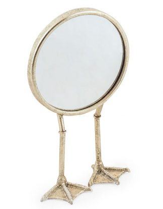 This quirky silver bird leg mirror is sure to be noticed! Made of metal and hand finished in silver paint, a great gift!  H36 x W20 x D14cm. Super value