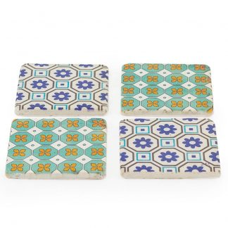 These funky moroccan tile coasters would look and do the job in any room.Perfect for either cold or hot drinks.The measurements are H10.2xW10.2xD1cm each.