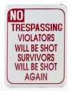 This trespassing enamel sign is made of metal and is perfect outside or in. Perfect inexpensive gift. Measures 39.5 x 30.5 x 1.5cm Authentic vintage style