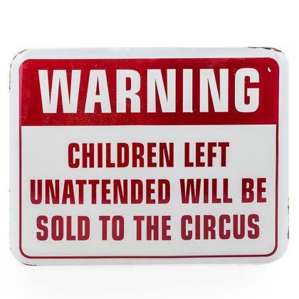 children at circus enamel sign measures 30 x 39 x 1.5cm