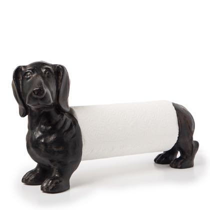 Dougie our kitchen roll holder is the perfect gift for any dog lover but especially a Dachsie lover! H22.5 x W 36.5 x D12.5cm. Black painted resin.