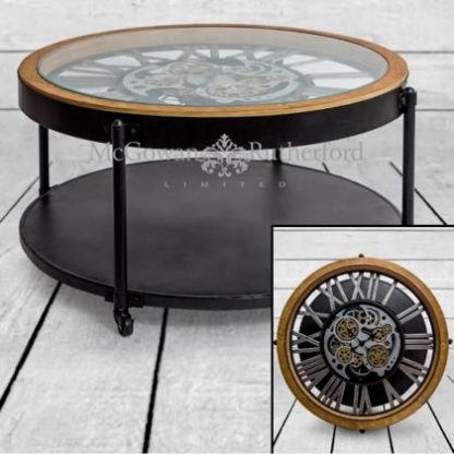 Industrial moving gears clock coffee table is a new twist on the wall clocks! 89 x 89 x 48 cm. Gold coloured gears, silver numbers.